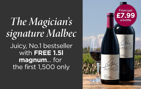 The Magician's signature Malbec Juicy, No.1 bestsellerwith FREE 1.5lmagnum... for the first 1,500 only