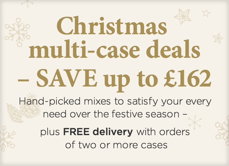 Christmas multi-case deals - SAVE up to £162 -  Hand - picked mixes to satisfy your every need over the ddestive season - plus FREE Champagne + + FREE delivery with orers of two or more cases