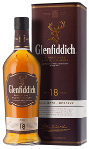 Glenfiddich 18-year-old Single Malt Scotch Whisky (70cl in gift box)