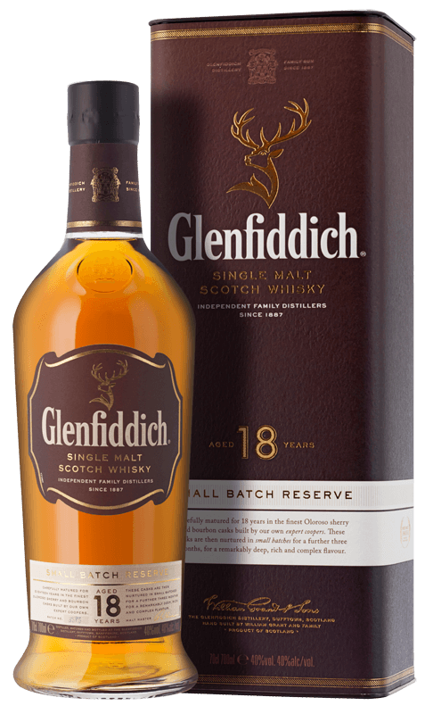 Glenfiddich 18-year-old Single Malt Scotch Whisky (70cl in gift box) NV