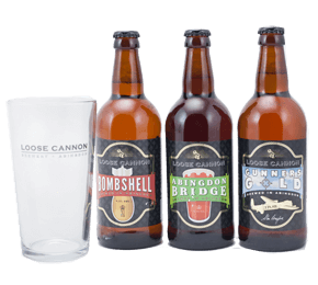 Loose Cannon Beers 3 bottle Gift Set and Glass