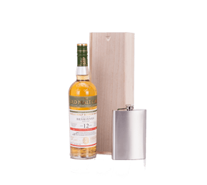 Old Malt Cask Benrinnes Scotch with Hip Flask in Wooden Gift Box