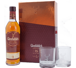 Glenfiddich 15 years old Scotch Whisky Gift Set with Glasses (70cl)