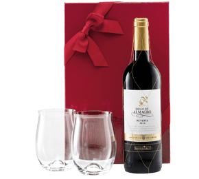Fine Spanish red & Dartington Glasses Gift Set