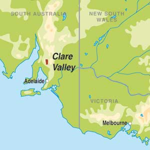 Map showing Clare Valley