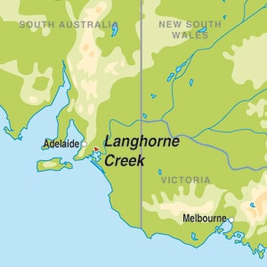 Map showing Langhorne Creek