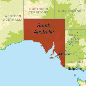 Map showing South Australia