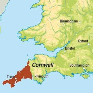 Map showing Cornwall