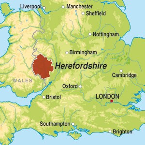 Map showing Herefordshire