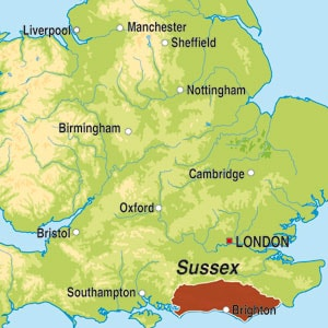 Map showing Sussex