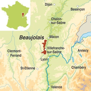 Map showing Beaujolais AOC