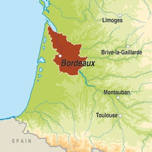 Map showing Bordeaux AOC