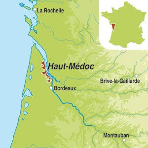 Map showing Haut-Medoc AOC Cru Bourgeois