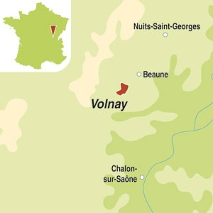 Map showing Volnay AOC