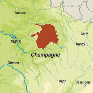 Map showing Champagne