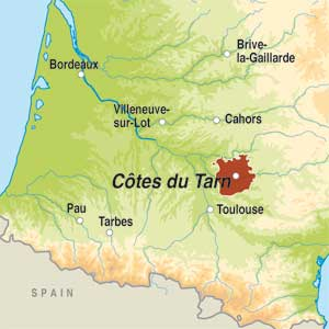 Map showing Côtes du Tarn IGP