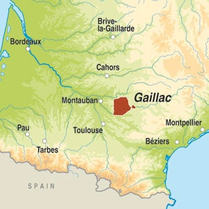 Map showing Gaillac AOC