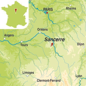 Map showing Sancerre AOC
