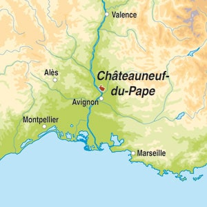 Map showing Chateauneuf-du-Pape AOC