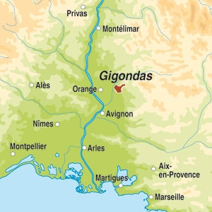 Map showing Gigondas AOC