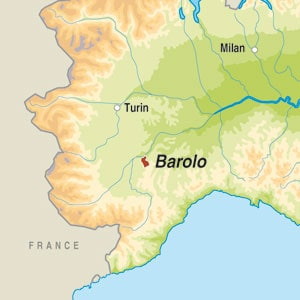 Map showing Barolo DOCG