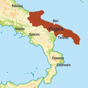Map showing Puglia IGP