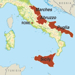 Map showing Vino Rosso