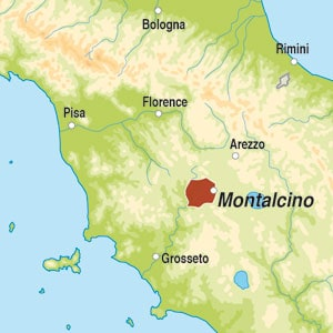 Map showing Rosso di Montalcino DOC