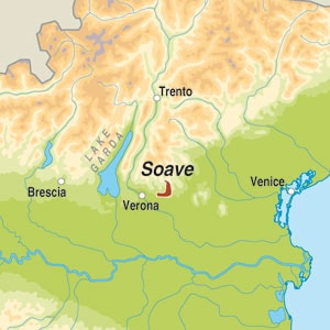 Map showing Soave Classico DOC