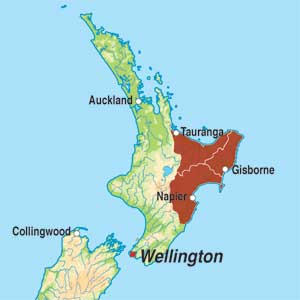 Map showing Wine of New Zealand