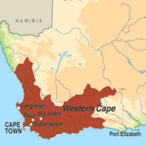 Map showing Western Cape