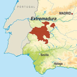 Map showing Extremadura VdT