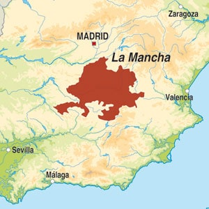 Map showing La Mancha DO
