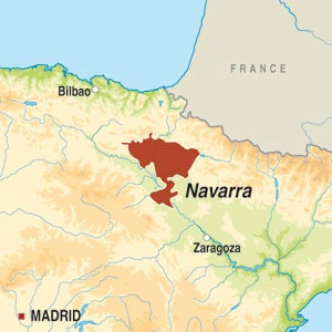 Map showing Navarra DO
